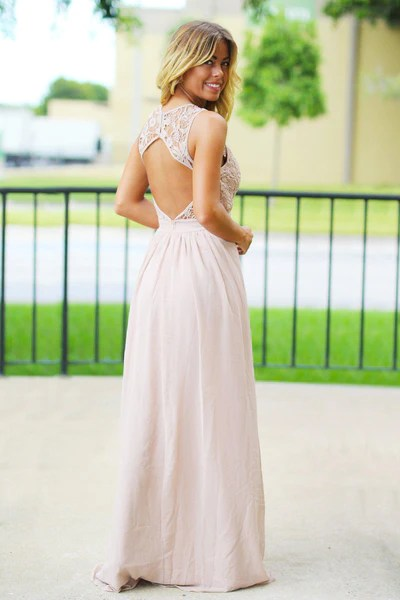 Tan Crochet Maxi Dress with Open Back   Blush Bridesmaid Dress – Saved by the Dress