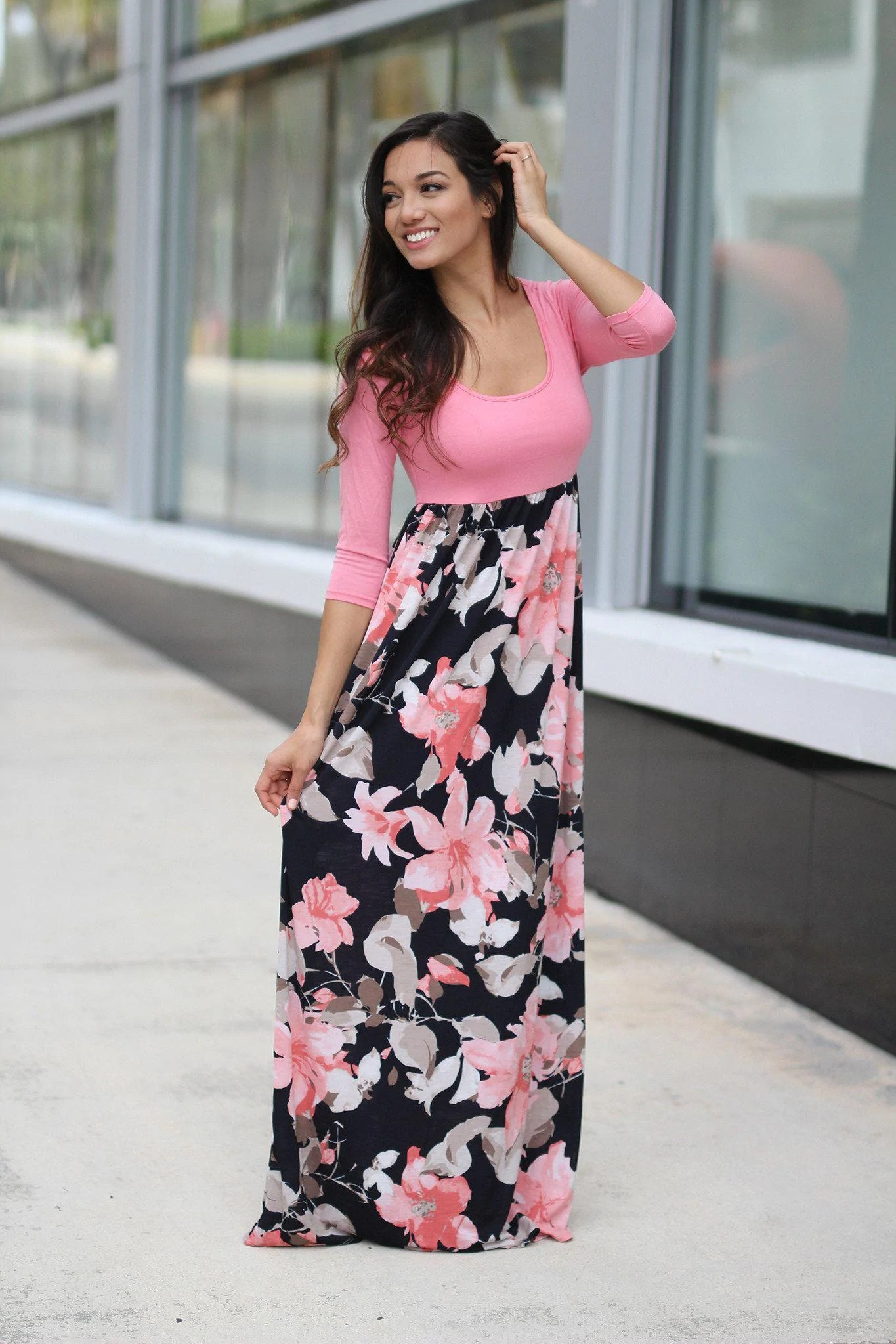 Navy and Pink Floral Maxi Dress