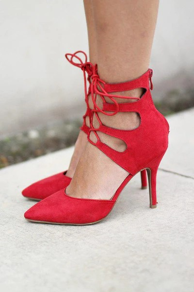 Red Strappy Heels  Red Shoes  Red Heels  Saved by the Dress