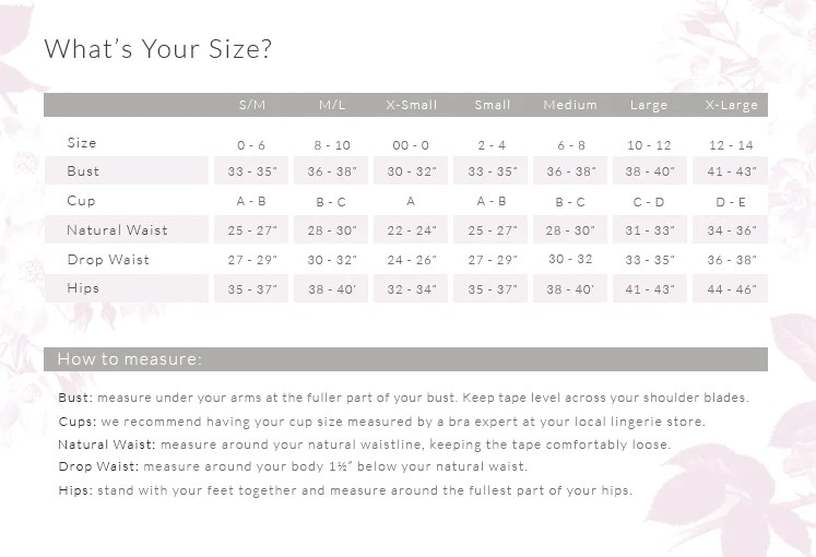 Eberjey size chart also the little drawer official online store luxury lingerie in rh shopthedrawer