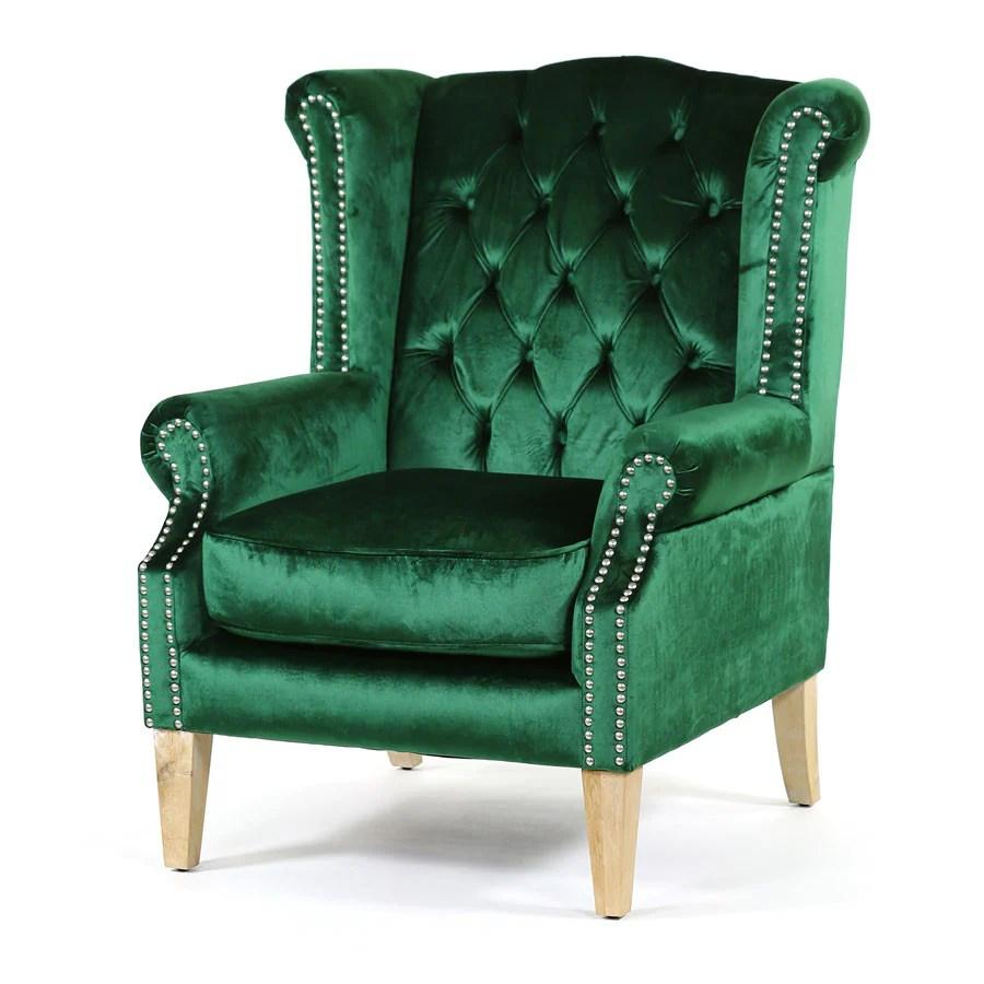 Royale Wingback Arm Chair Emerald  Black Mango