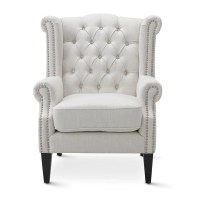 Linen White Royale Wingback Arm Chair