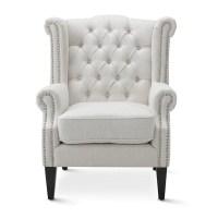Linen White Royale Wingback Arm Chair   Black Mango