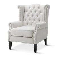 Linen White Royale Wingback Arm Chair | Black Mango