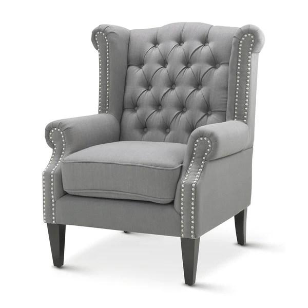 Royale Wingback Arm Chair Wolf Grey  Black Mango
