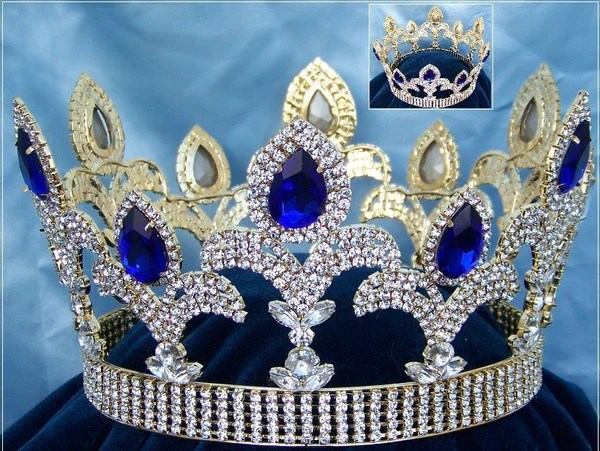 The Millenium rhinestone UNISEX full gold Blue Sapphire crown  CrownDesigners