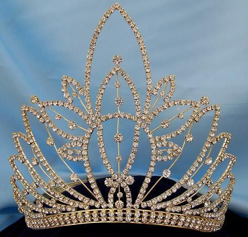 Gold RHINESTONE Miss Beauty Queen Pageant Crown Tiara  CrownDesigners