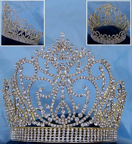 Miss American Beauty Pageant Queen Rhinestone Crown Gold FULL  CrownDesigners