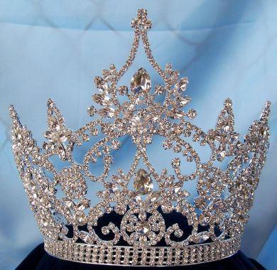 Continental Ajustable Tear Drop Silver Rhinestone Crown