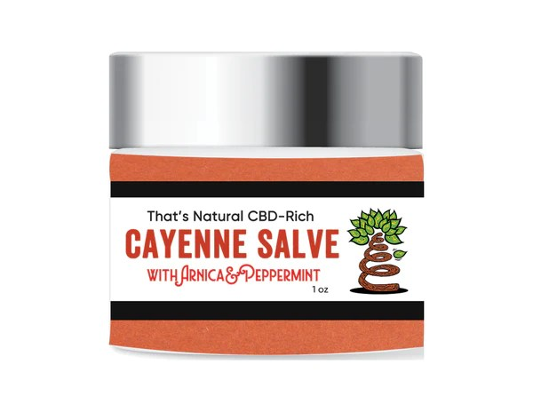 That's Natural Cayenne Salve - CBD-Infused Cayenne Soft Salve (300mg CBD per 1 oz. jar) - Our most potent topical formulation - CBD meets the anti-inflammatory super-stars arnica and cayenne, all in a coconut oil base - this salve is softer than our beeswax salve.  Find at www.cbdoil.life, cbdoil.life, www.thatsnatural.info, thatsnatural.info at at the Thats Natural Life Force Market!