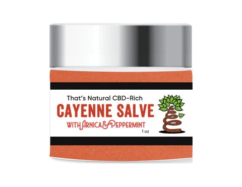 CBD Salve with Cayenne and Arnica from That's Natural - Entourage Effect - That's Natural full spectrum CBD oil products with cannabinoids and terpenes - experience the entourage effect with Thats Natural CBD Oil, legal hemp CBD, hemp legal in all 50 States, CBD, CBDA, CBC, CBG, CBN, Cannabidiol, Cannabidiolic Acid, Cannabichromene, Cannabigerol, Cannabinol; beta-myrcene, linalool, d-limonene, alpha-pinene, humulene, beta-caryophyllene - find at cbdoil.life and www.cbdoil.life