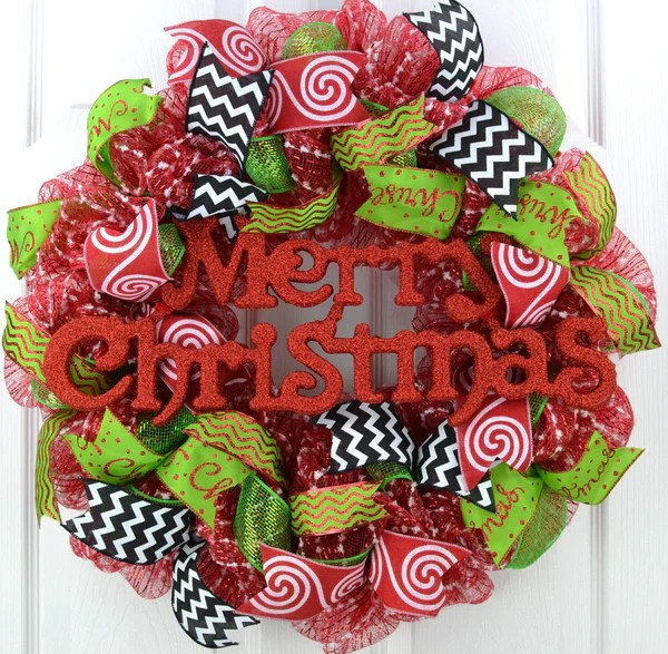 Candy Cane Whimsical Christmas Wreath Red White Black