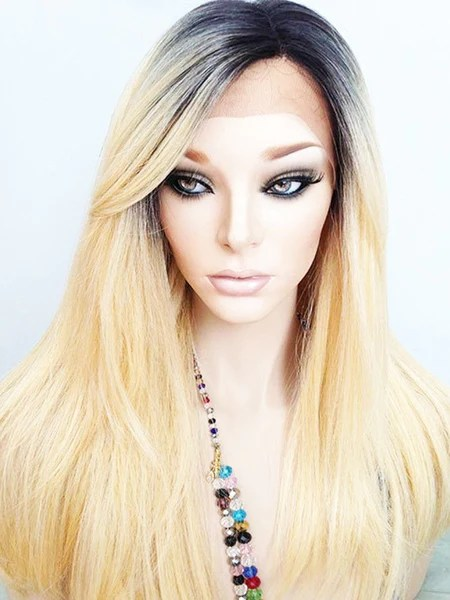 Ombre Platinum Blonde Human Hair Lace Front Wig 1B613