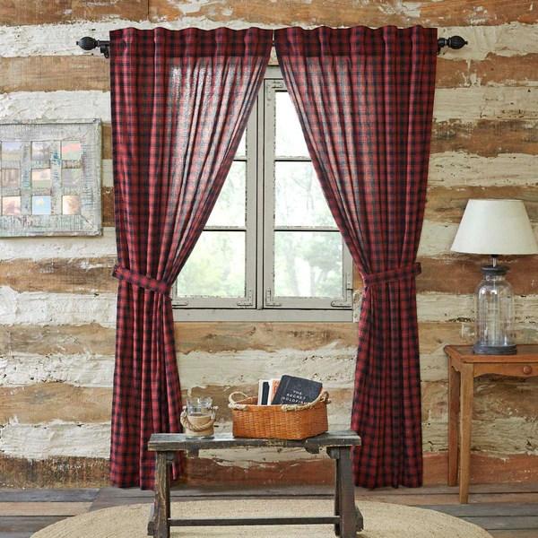 Cumberland Log Cabin Check Lined Curtain Panels  Log Cabin Decor UK  Olde Glory