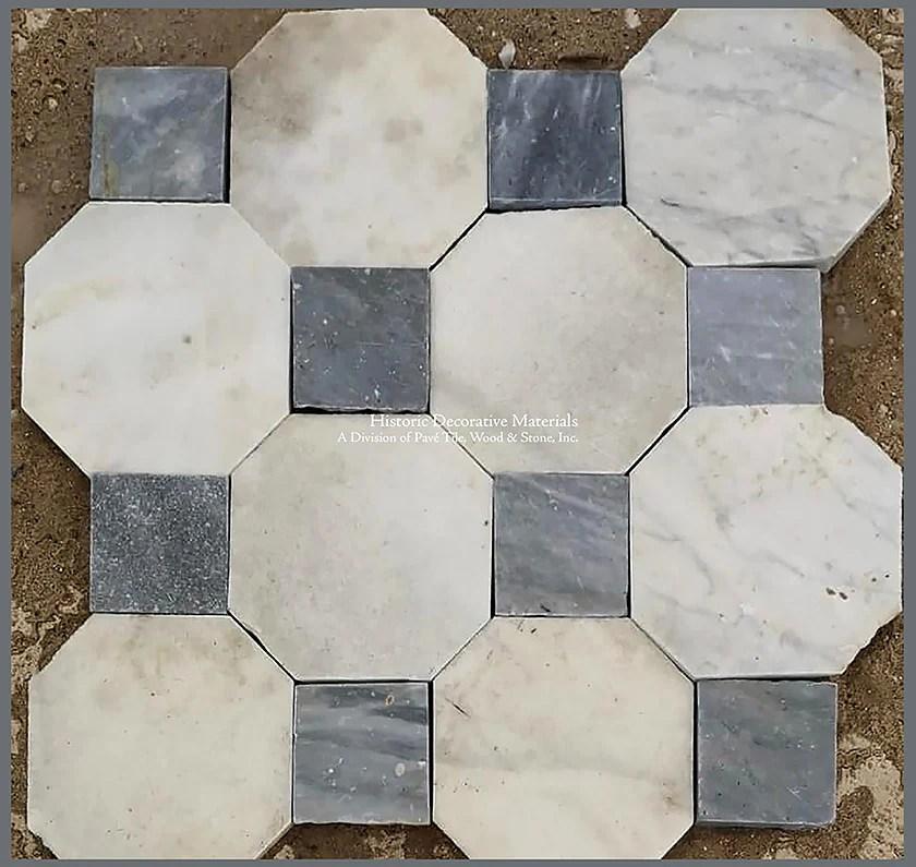antique italian bianco carrara octagon and nero cabochon marble stone flooring