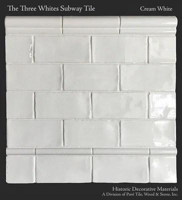 hdm s historic whites glazed 3 x 6 subway tile molding collection the pencil edge molding