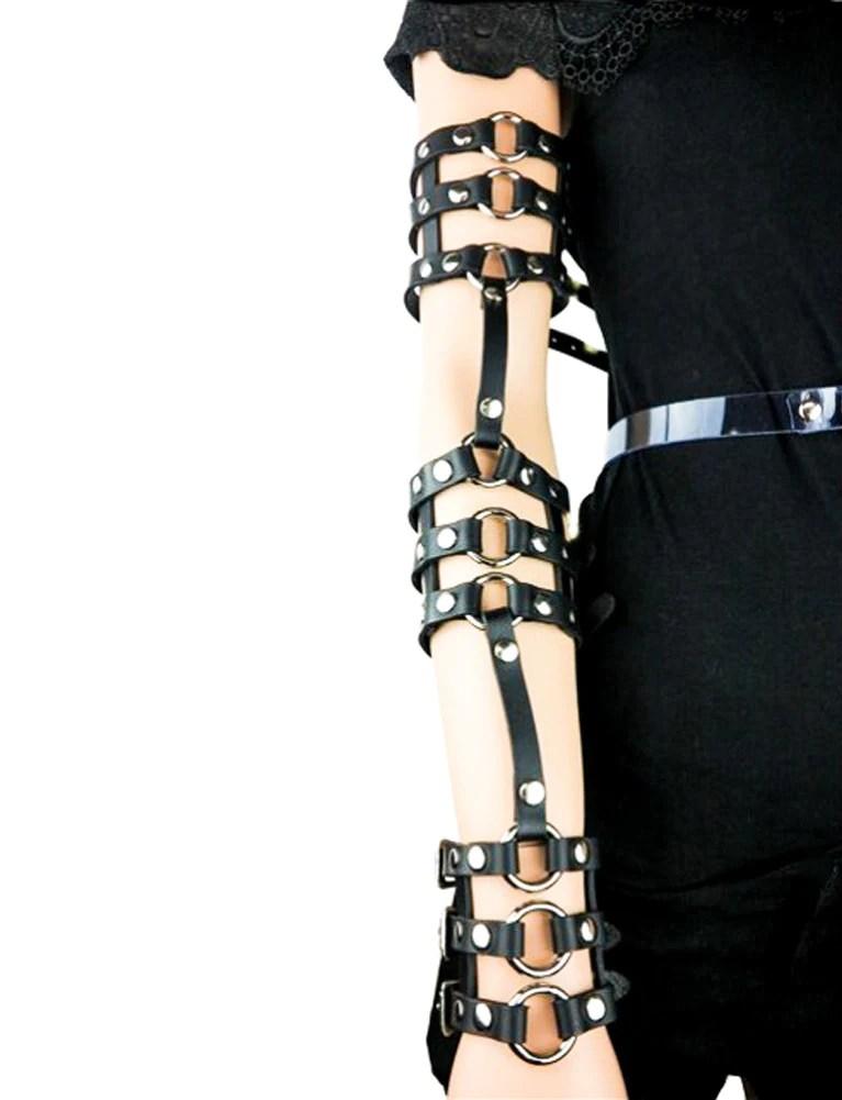gothic black leather triple