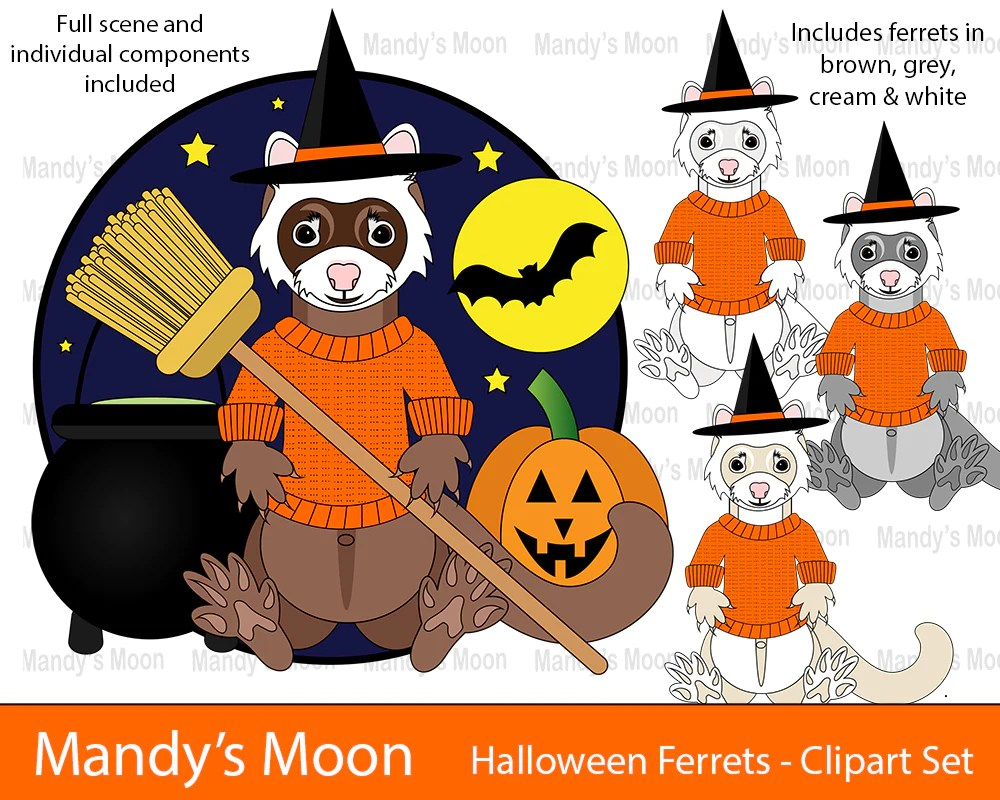 halloween ferrets clipart set personal nonprofit use only mandys moon personalized gifts [ 1000 x 800 Pixel ]