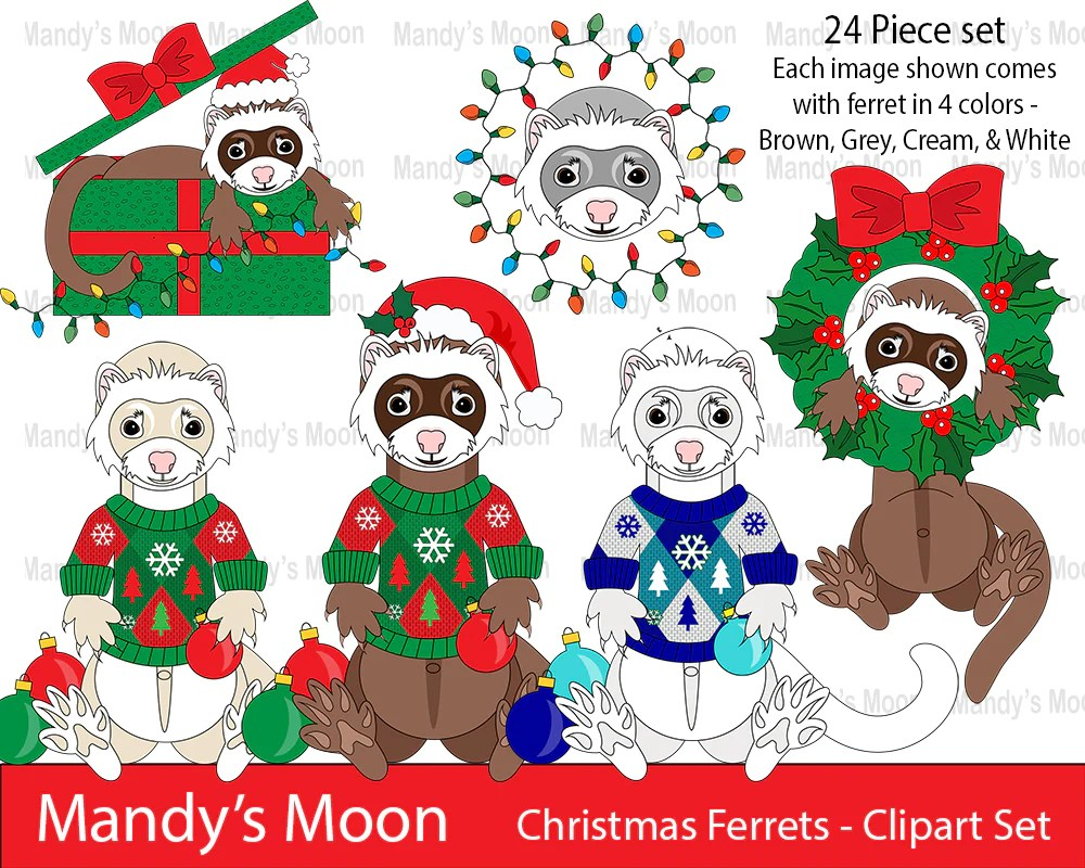christmas ferrets clipart set personal nonprofit use only mandys moon personalized gifts [ 1000 x 800 Pixel ]