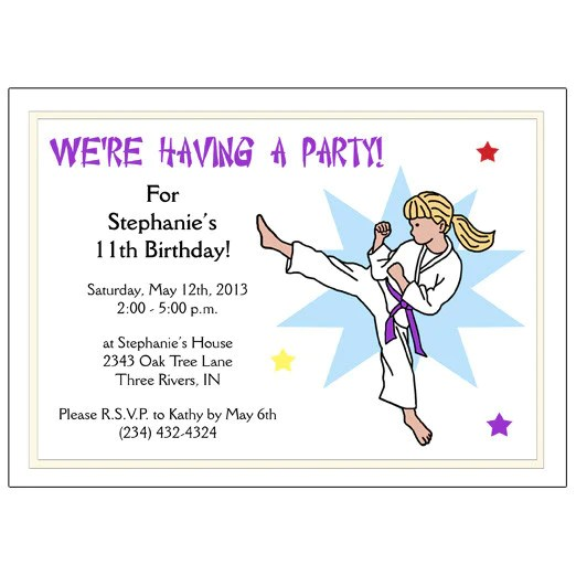 Karate Or Martial Arts Girl Birthday Party Invitation