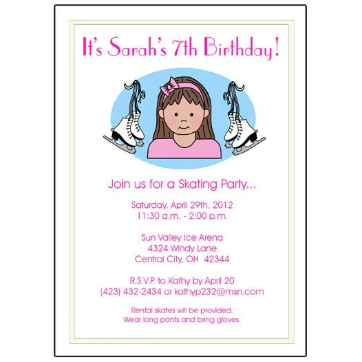 ice skating kid birthday party invitation girl mandys moon personalized gifts
