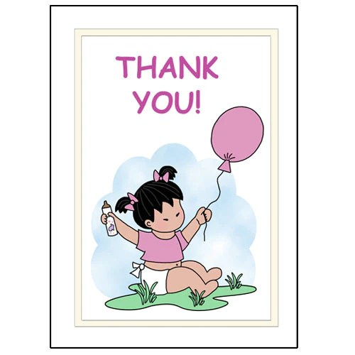 Baby Girl Thank You Note Cards Mandys Moon Personalized