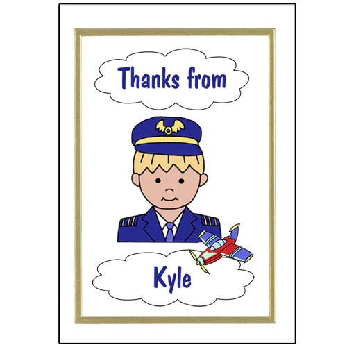 Kids Airplane Pilot Birthday Thank You Note Cards Mandys