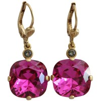 Catherine Popesco 14k Gold Plated Crystal Round Earrings ...