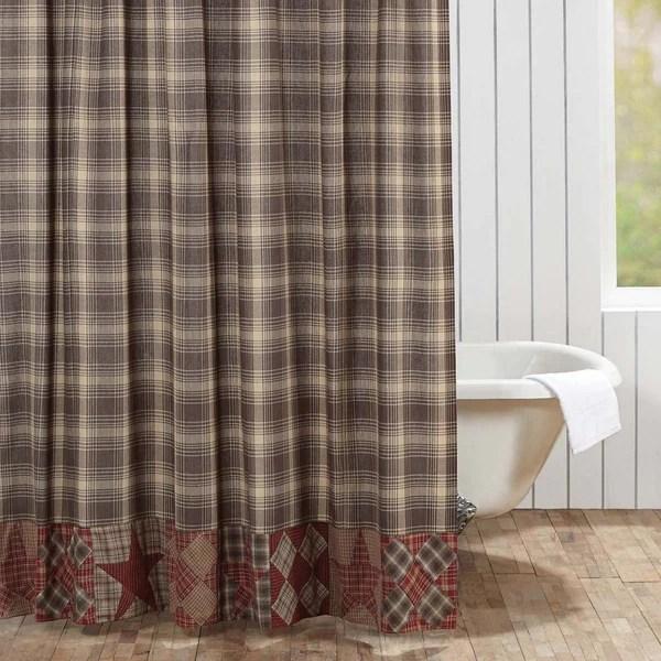 Dawson Star Patchwork Shower Curtain  Primitive Star