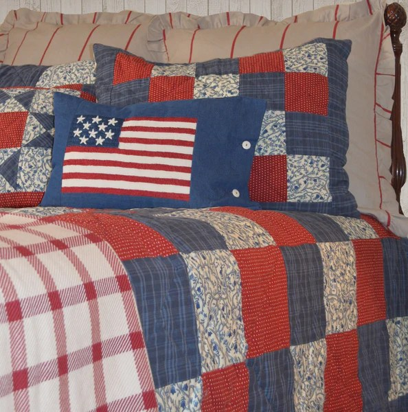Betsy Americana Quilt Set  Retro Barn Country Linens