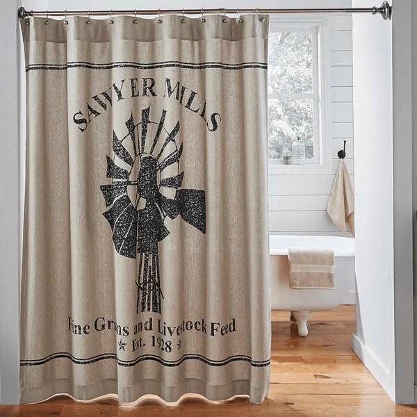 Sawyer Mill Shower Curtain Windmill Retro Barn Country