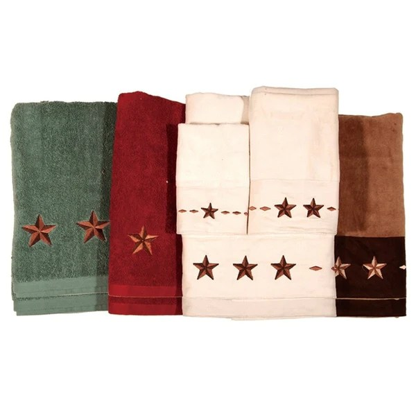kitchen swags automatic faucet embroidered star bath towel set - western style decor ...