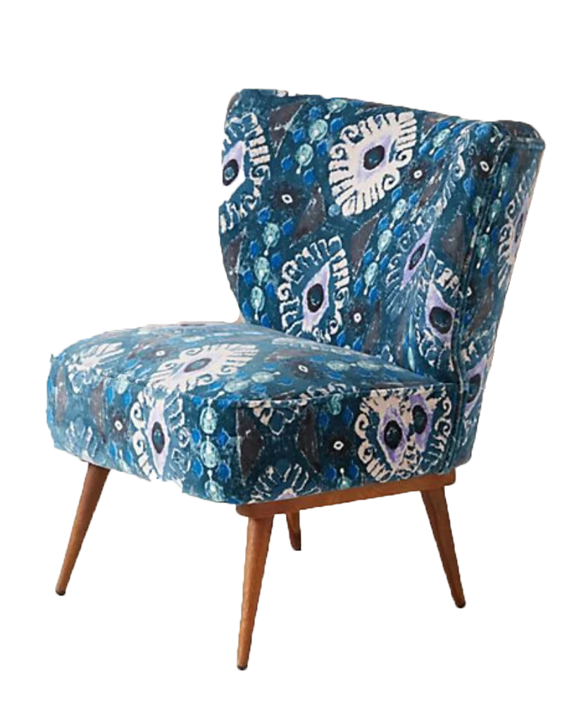 Blue Patterned Chair Adina