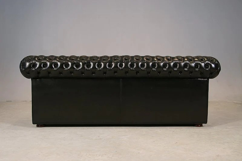 3 seater sofa black leather sure fit authentic denim slipcover luxury chesterfield diamond buttoned seat in genuine matching free versace