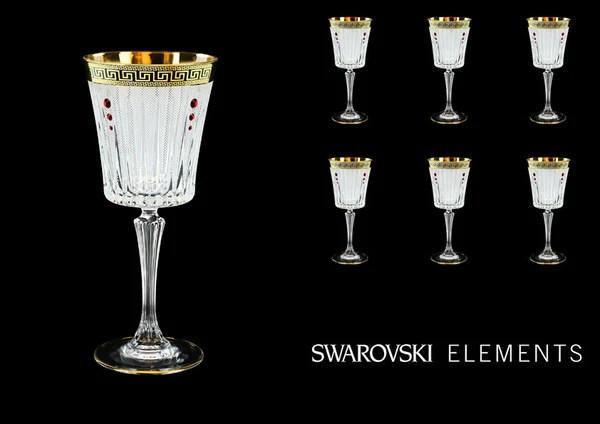 Crystal Swarovski Red Antique Golden Black Greek Key Wine