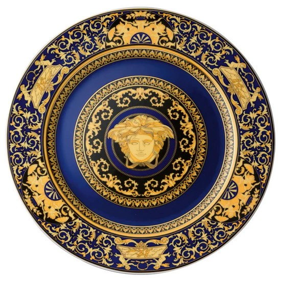 Versace Rosenthal Blue Medusa Service Charger Plates 30cm