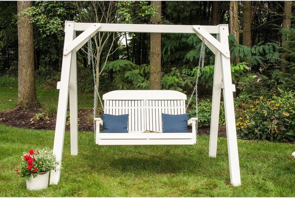 highwood adirondack chair travel high seat argos luxcraft 4' highback recycled plastic porch swing - rocking furniture