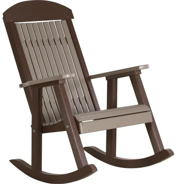 gray adirondack chairs modern task chair luxcraft classic recycled plastic rocking - furniture