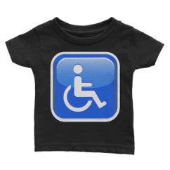 Wheelchair Emoji Collapsible Ergonomic Chair Baby T Shirt Symbol Just