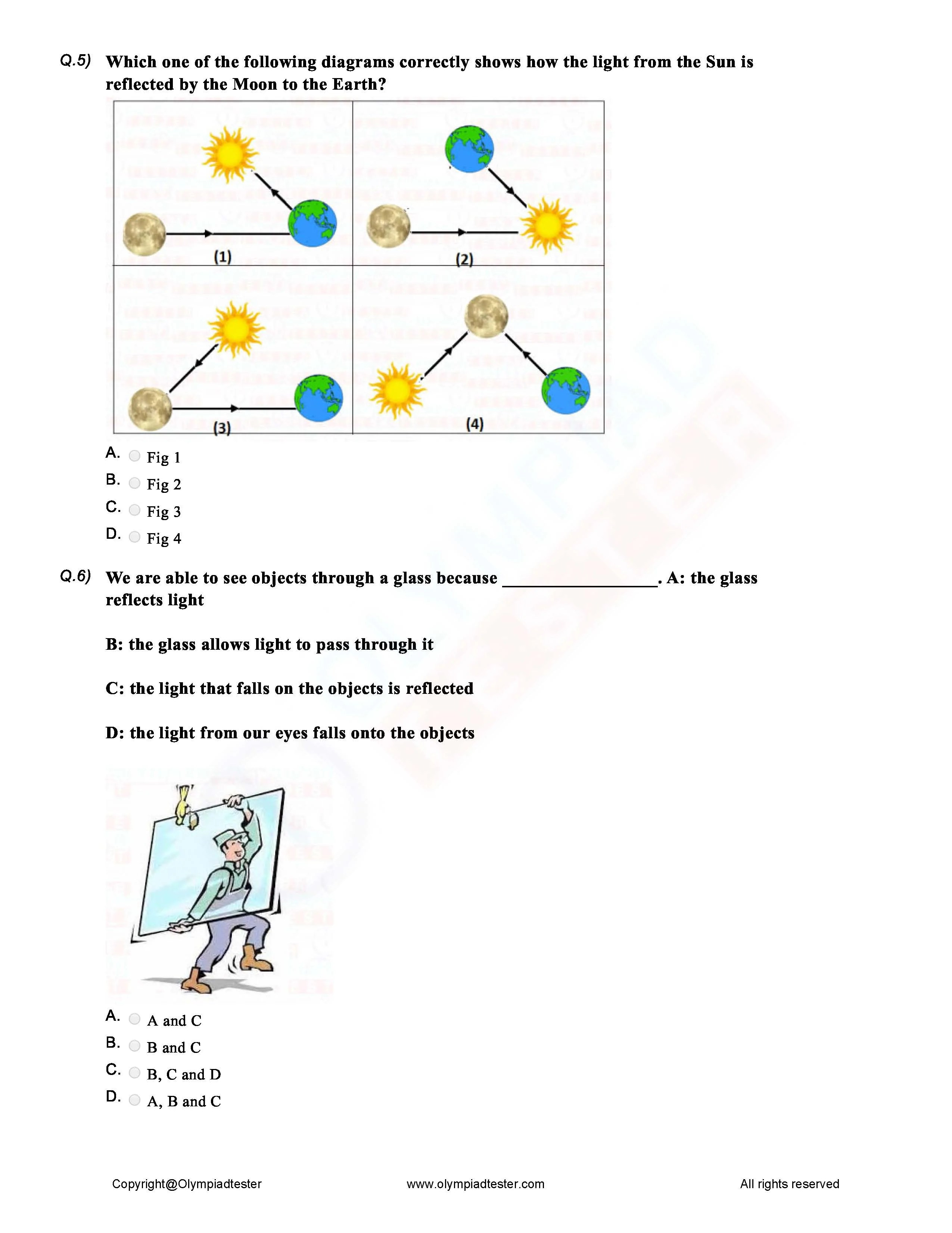 Class 6 Science Light Shadow and Reflections worksheet   Olympiadtester [ 3300 x 2550 Pixel ]
