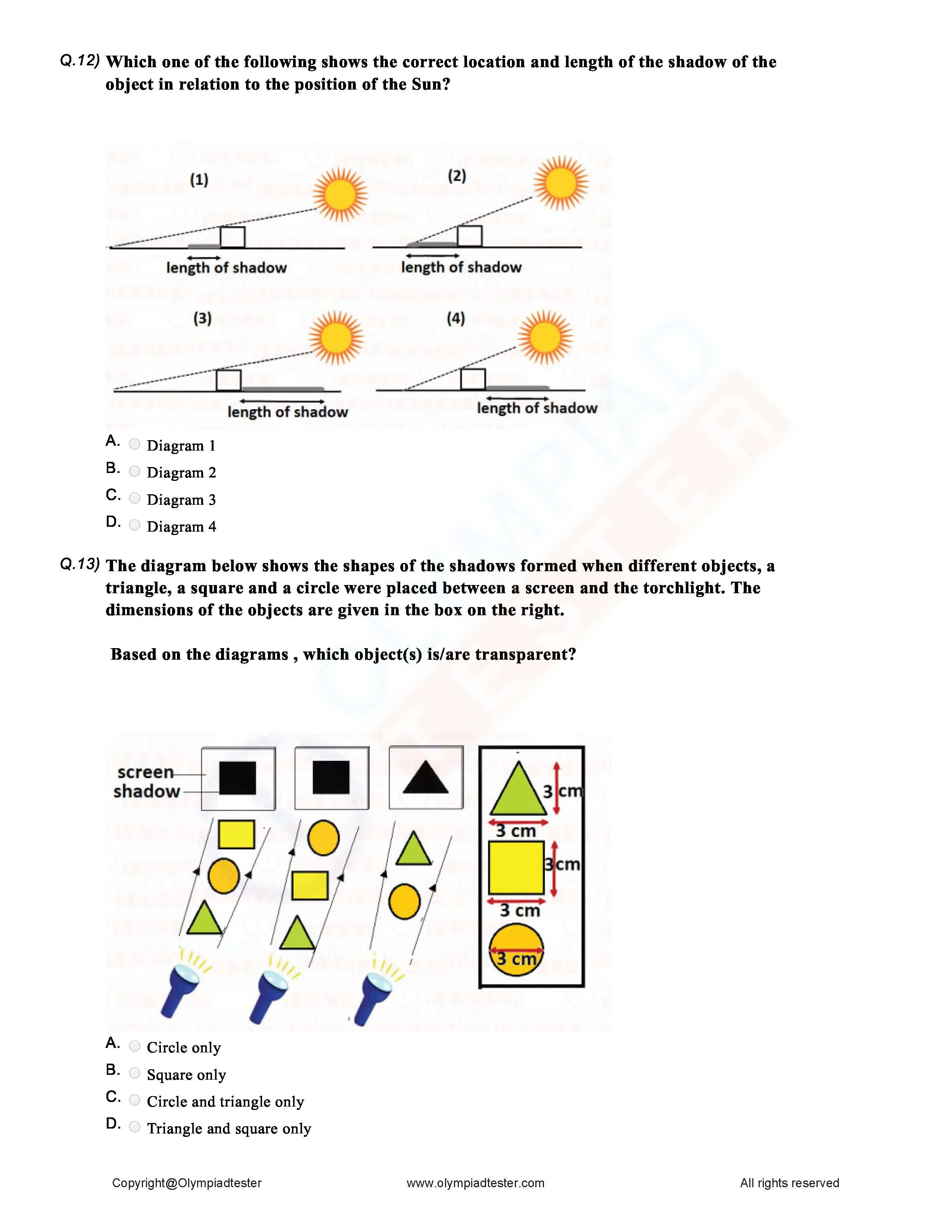 medium resolution of Class 6 Science Light Shadow and Reflections worksheet   Olympiadtester