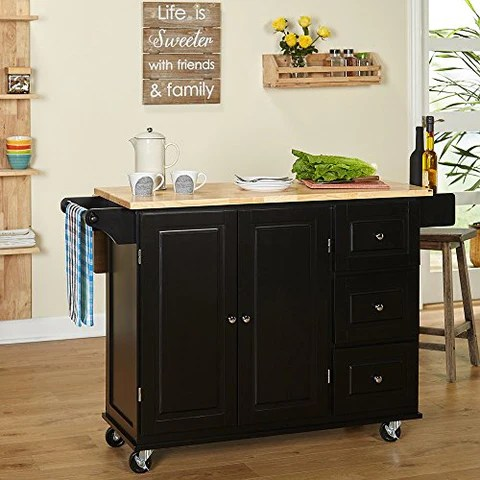 drop leaf kitchen cart victorinox knife modern transitional with utility drawers 2 storage cabinet and towel holder