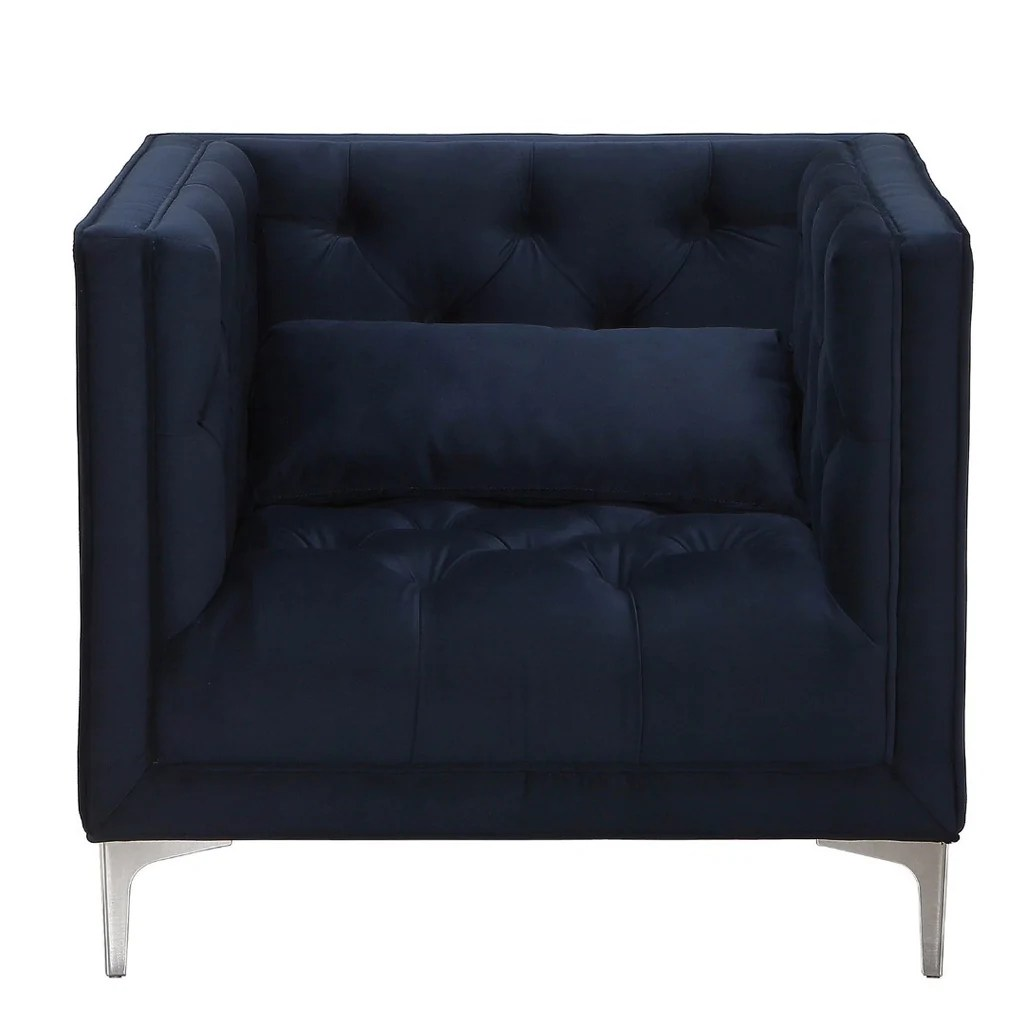 Navy Club Chair Modern Navy Blue Upholstered Button Tufted Accent Club Arm