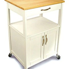 Kitchen Rolling Cart Pendant Lighting Contemporary White Wood Storage Trolley With Single Drawer And Cabinet