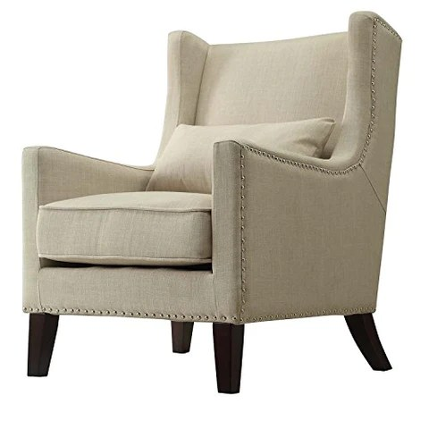 accent wingback chairs best office ergonomic chair contemporary cream linen upholstered with silver modhaus living