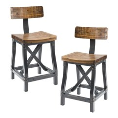 Rustic Metal Dining Chairs Portable Pedicure Chair Industrial Acacia Wood And With Back Set Of 2
