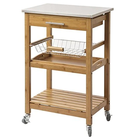 rolling cart for kitchen utility knife contemporary bamboo stainless steel top with 1 pull out storage drawer wire