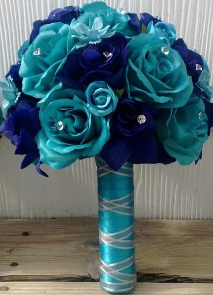 17 Piece Malibu Blue Royal Blue Silk Rose Wedding Bouquet