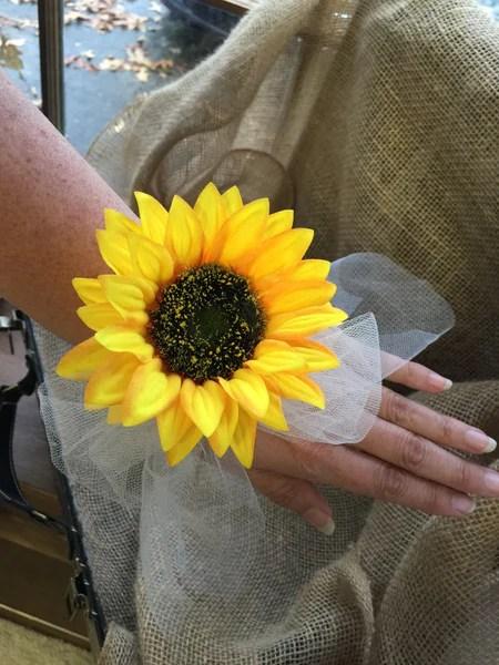 Sunflower Wrist Corsage Sunflower Corsage Rustic Corsage