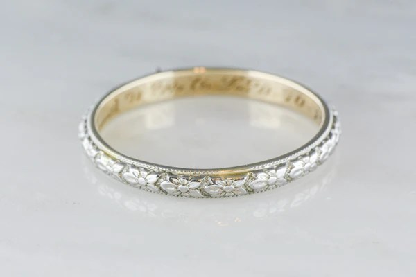 Antique Two Tone Mens Victorian 14K Gold Wedding Band